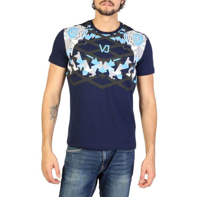 Versace - Jeans - T-shirt imprimé homme - Bleu marine - pas cher Achat    Vente Tee shirt homme - RueDuCommerce 54691882f34e