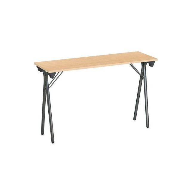 table pliantes étroite 200x40 cm plateau gris clair - pied alu - pas