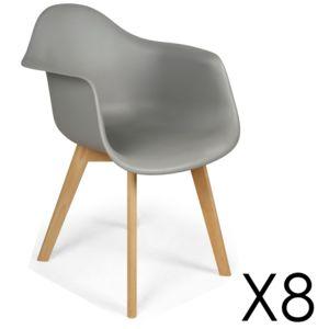Lot de 8 chaises de style scandinave Lena Gris pas cher Achat