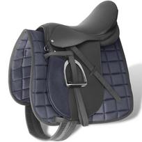 Rocambolesk - Superbe Set de selle équitation 16 en cuir véritable 14 cm 5 en 1 noir Neuf