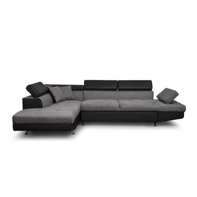 USINESTREET Canapé d'Angle Gauche Convertible avec coffre Noir/Gris RIO