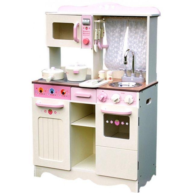 Marque Generique - Cuisine en bois enfant avec fenêtre four micro-ondes et accessoires jeu d'imitation Retro Cooker | Blanc et Rose