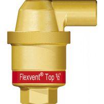 Flamco - Purgeur d'air à flotteur Flexvent Top mâle Ø 12/17 modèle coudé blanc avec vanne d'isolement