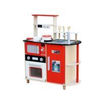 Marque Generique - Cuisine interactive en bois avec four micro-ondes frigo et accessoires jeu d'imitation enfant Katy | Rouge