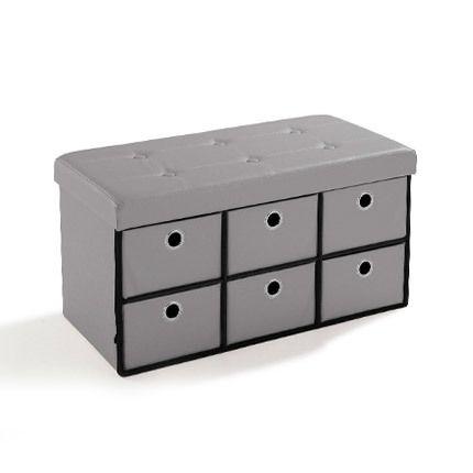 Pouf Pvc avec tiroirs de rangement gris