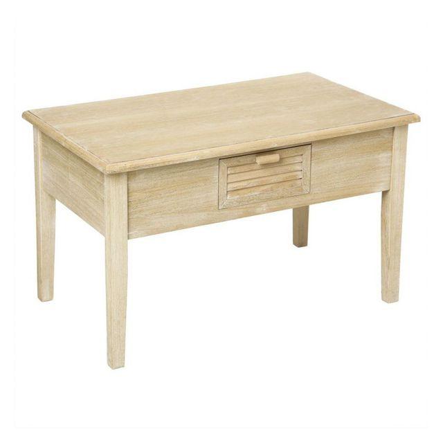 jja le depot bailleul table basse 1 tiroir en bois hugaut naturel vieilli pas cher achat. Black Bedroom Furniture Sets. Home Design Ideas