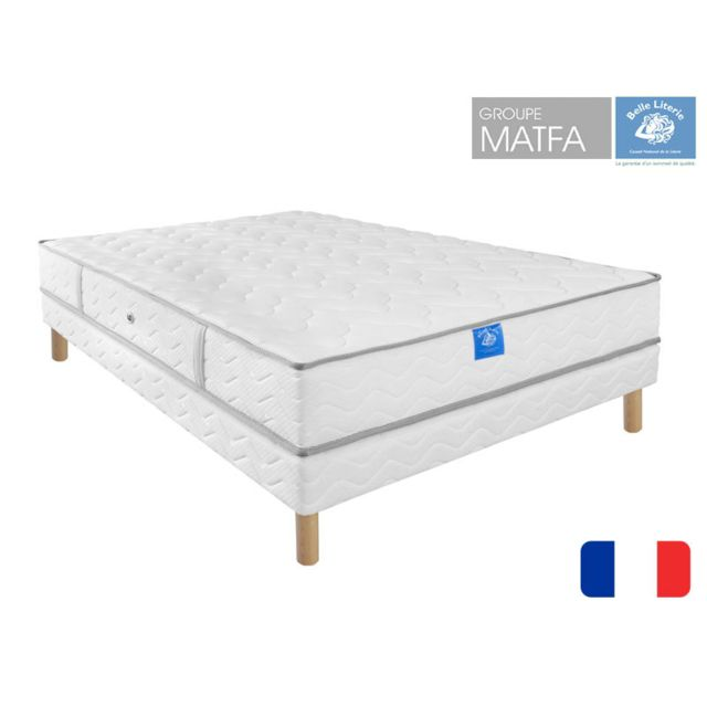 belle literie ensemble matelas intimit sommier tapissier 90x190 blanc pas cher achat. Black Bedroom Furniture Sets. Home Design Ideas