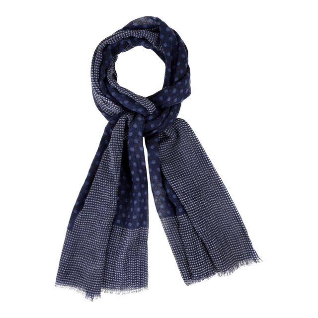 2c89f2aef6f Les Poulettes Bijoux - Echarpe 100% Laine Bleu Marine Et Pois Bleu -  Bordure Plumetis Blancs - pas cher Achat   Vente Echarpes