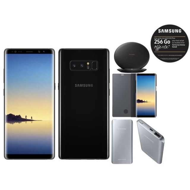 Samsung - Galaxy Note 8 - Noir Carbone + Fast Charging Battery Pack 5200 mAh - Argent + Clear View Fonction Stand Noir + Pad à Induction Noir