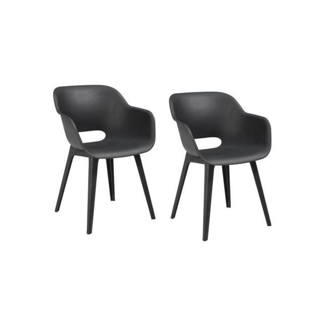 ALLIBERT JARDIN Lot de 2 fauteuils Akola Coque graphite