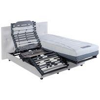 Altobuy - Corfou - Sommier 2x80x200cm électrique + Tête de lit