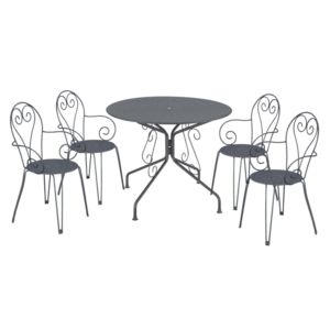 carrefour ensemble 1 table et 4 chaises de jardin romantique graphite pas cher achat. Black Bedroom Furniture Sets. Home Design Ideas