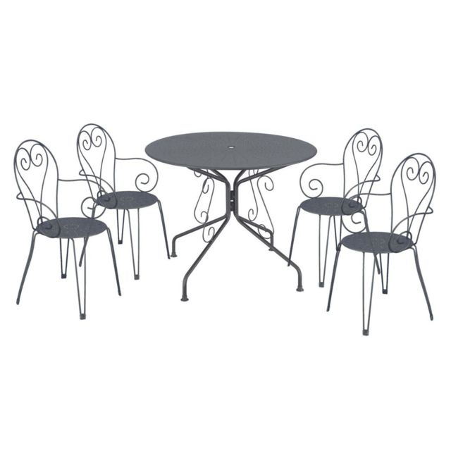 CARREFOUR - Ensemble 1 table et 4 chaises de jardin ROMANTIQUE ...