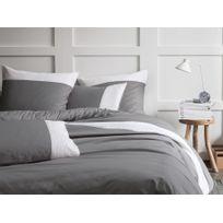Matt&Rose - Taie d'oreiller unie 100% coton parement plissé contrasté Chaleureux GoÛTER