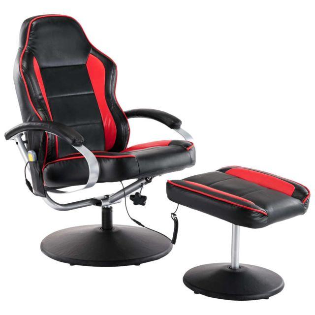 Icaverne - Fauteuils électriques selection Fauteuil de massage avec repose-pied Noir et rouge Similicuir