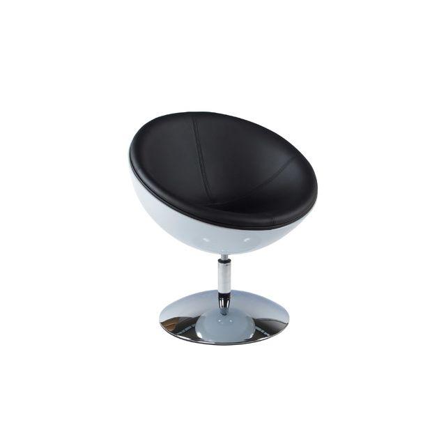 Fauteuil design 60x70x78cm Spherea - noir