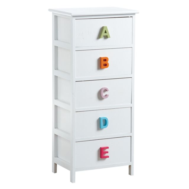 AUBRY GASPARD Commode chambre enfant alphabet 5 tiroirs