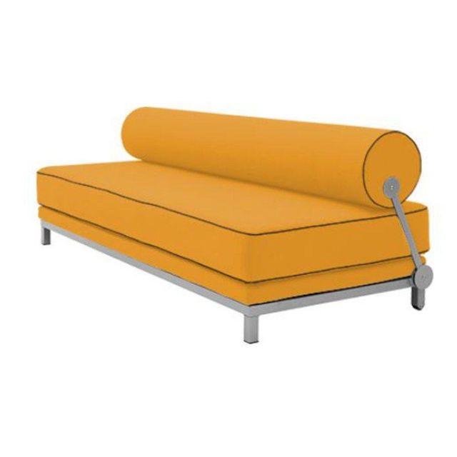INSIDE 75 Canapé lit convertible design SLEEP en tissu coton jaune structure aluminium
