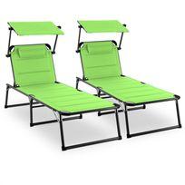 BLUMFELDT - Amalfi Set transat 2 chaises longues rembourrées Tubes d'acier - vert