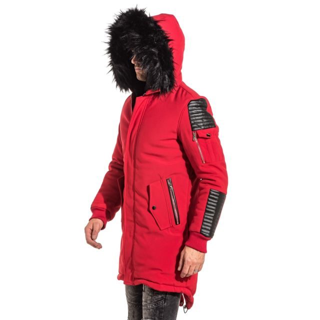 Project X - Parka homme rouge simili cuir noir capuche fourrure ... 445cd0569ae9