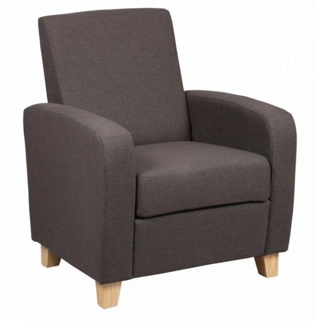 Inside 75 Petit fauteuil Seated tissu marron