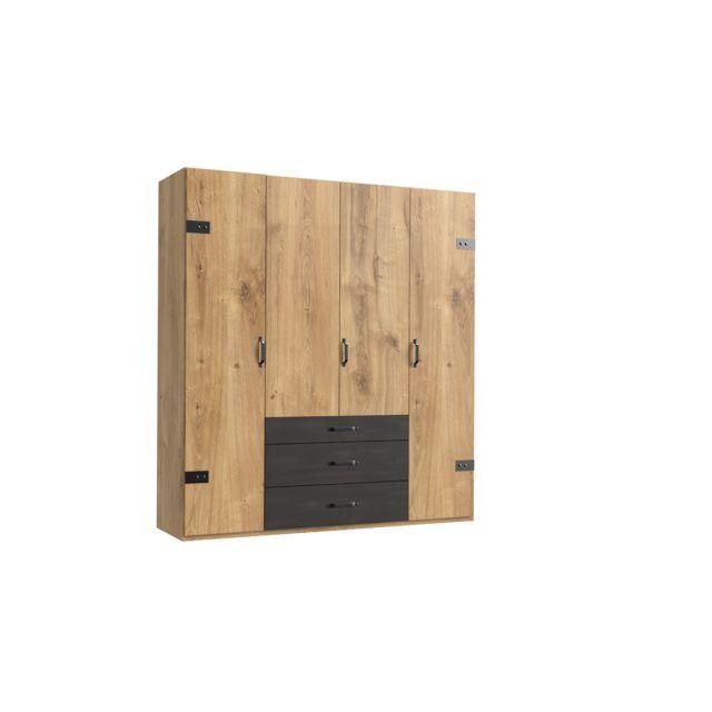 Pegane Armoire design 4 portes Imitation chêne poutre rechampis raw steel - L200 x H216 x P58 cm