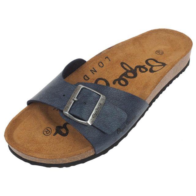 f22de9cdd9ee Pepe Jeans - Claquettes mules Bio man navy Bleu 54919 - pas cher Achat    Vente Sandales et tongs homme - RueDuCommerce
