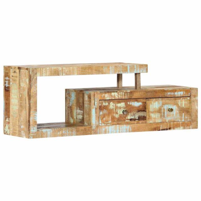 Helloshop26 Meuble télé buffet tv télévision design pratique 120 cm bois de récupération massif 2502243