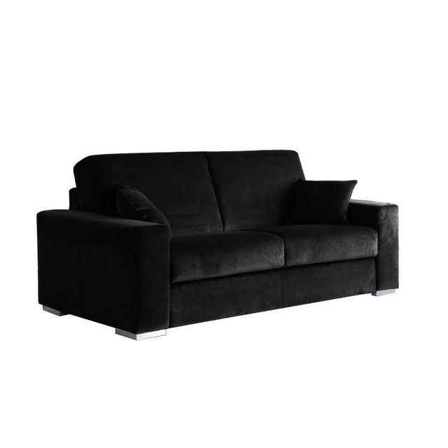 inside 75 le diva canap convertible easy ouverture rapido 160 200cm microfibre noire 92cm x. Black Bedroom Furniture Sets. Home Design Ideas