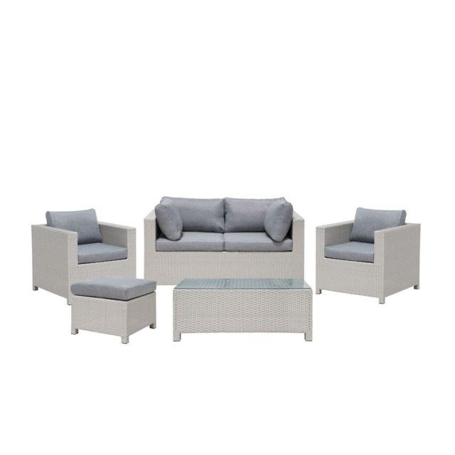 BELIANI Salon de jardin 4 places en rotin gris clair avec coussins gris foncé MILANO - gris