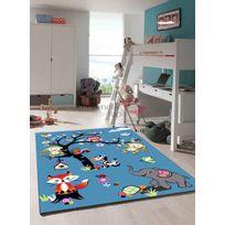 LES TAPIS - Tapis JUNGLE bleu Tapis Moderne 80 x 150 cm bleu 80 x 150 cm