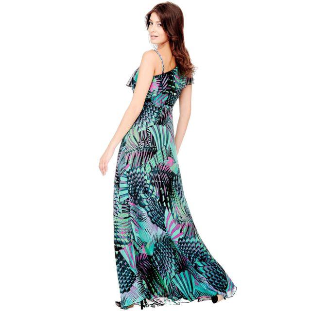 Guess Robe Longue Femme Katelyn Mono Epaule Volants Vert