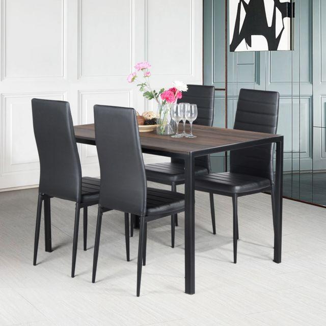 Mobilia Table à manger rectangulaire scandinave noir bois métal