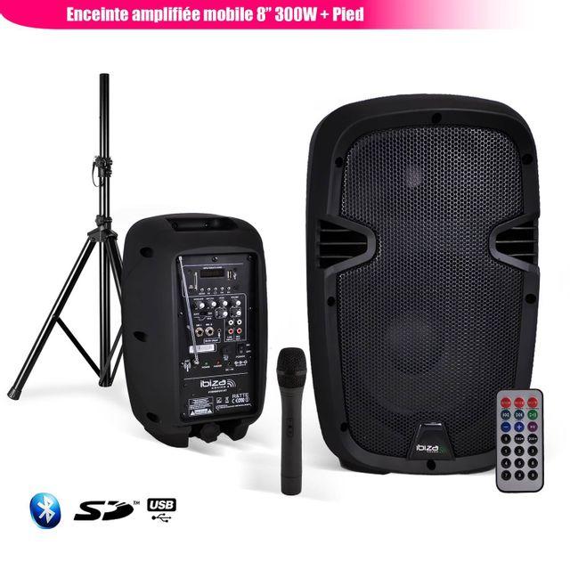 Ibiza Enceinte mobile amplifiée 8