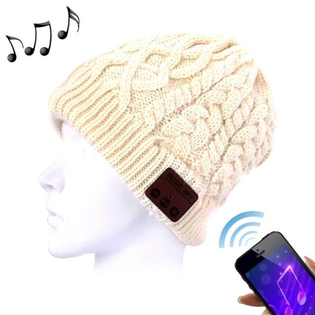 Wewoo - Bonnet Connecté Beige pour Garçon et Fille Adultes Ondulé Texturé  Tricoté Bluetooth Casque d 55367a71e81