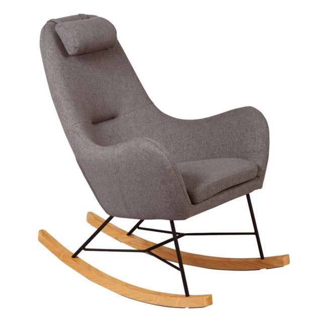 Tousmesmeubles Rocking Chair Gris - Means
