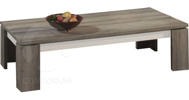 Comforium Table basse contemporaine 130 cm coloris Mara et blanc