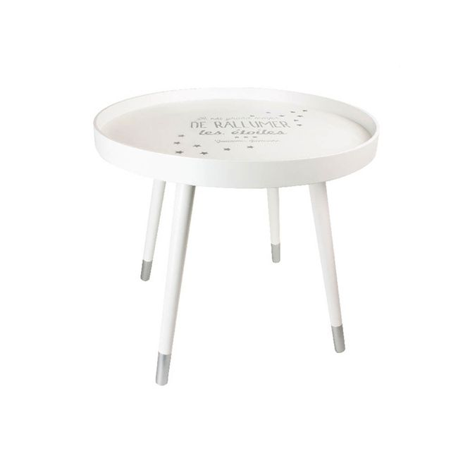 The Concept Factory Table basse citation blanche avec plateau rond