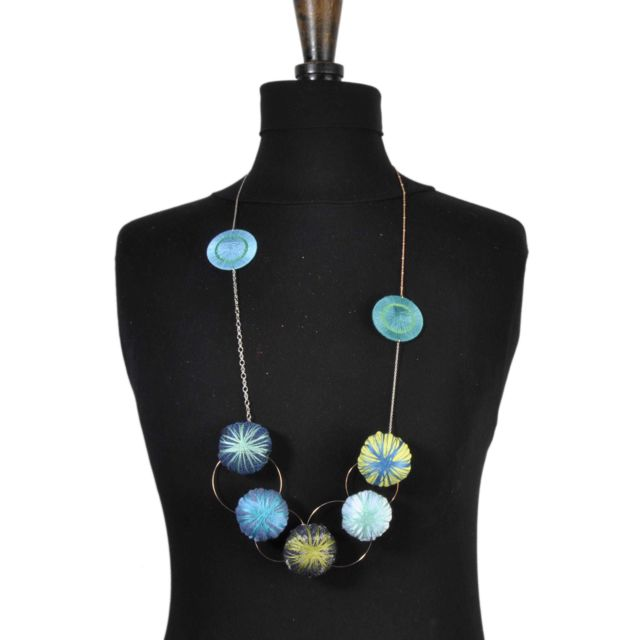 Piti Collier long Holly Coussin tons bleus