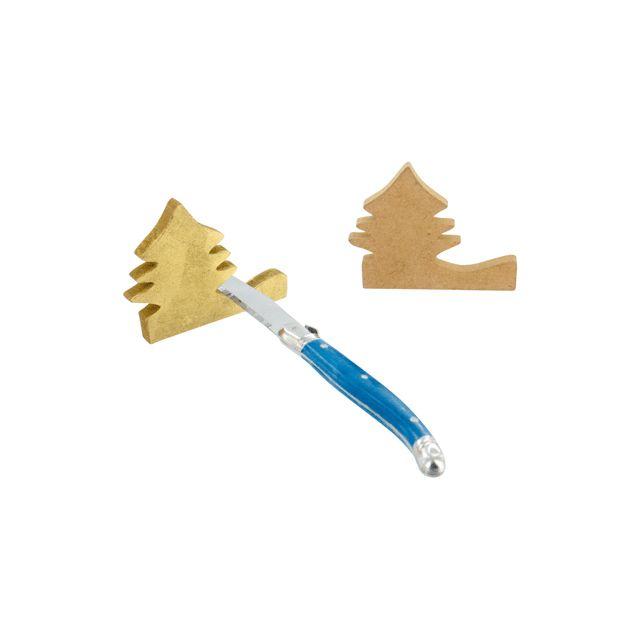 Pw International - porte couteau sapin en bois a decorer - lot de 4