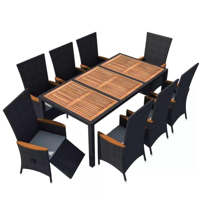Icaverne - Ensembles de meubles d\'extérieur selection Mobilier de jardin 17  pcs Noir Bois d\'acacia Résine tressée XXL