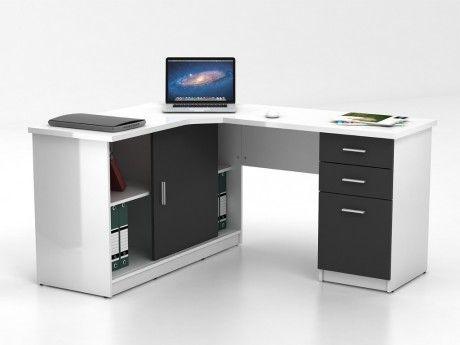 marque generique bureau d 39 angle norwy 2 portes 2 tiroirs blanc gris pas cher achat. Black Bedroom Furniture Sets. Home Design Ideas
