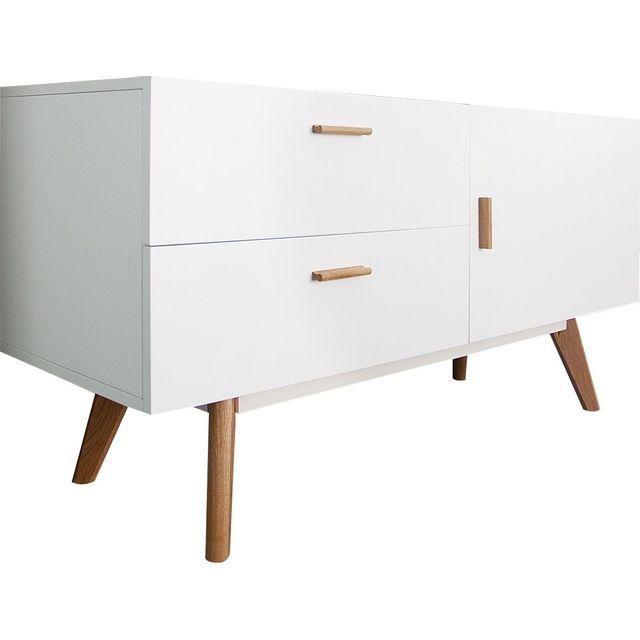Comforium Bahut design en mdf coloris blanc laqué