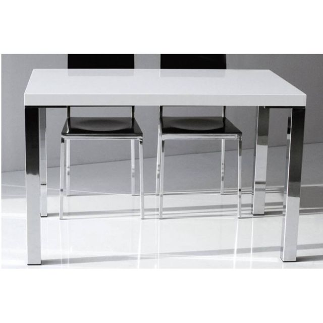 Inside 75 Table repas Neon design blanc brillant 130 cm