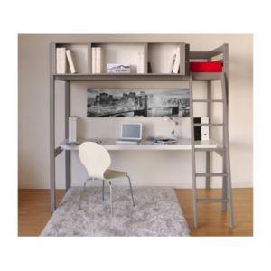 vente unique lit mezzanine giacomo 90x190cm bureau et rangements int gr s epicea gris. Black Bedroom Furniture Sets. Home Design Ideas