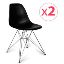 Novara Mobili - Pack 2 chaises Chrome Style Noir avec pieds en métal chromé