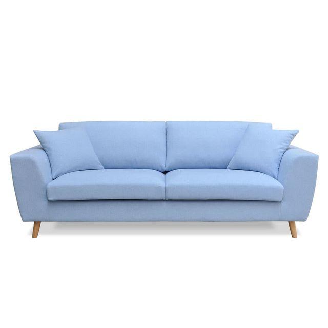 Axe Design - Canapé scandinave en tissus avec 2 coussins Sveg - Bleu ...