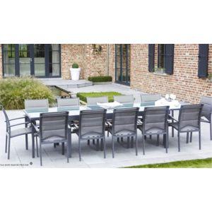 Wilsa salon de jardin modulo gris 12 places avec housse - Housse de salon de jardin pas cher ...