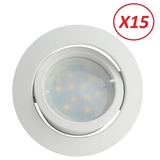 Lampesecoenergie Lot de 15 Spot Led Encastrable Complete Blanc Orientable lumiere Blanc Neutre eq. 50W ref.888