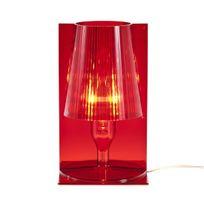 Kartell - Take - Lampe à poser Rouge translucide H30cm